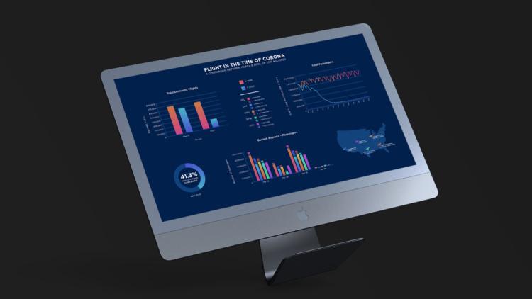 iMac with data viz
